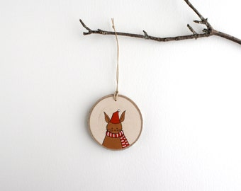 Rabbit Ornament - Hand Painted Christmas Ornament - Woodland Ornament