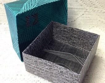 Origami Masu Paste Paper Box-Dark Green & Black