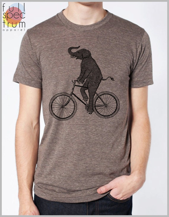 Bicycle Elephant T Shirt Men Women Unisex American Apparel Tshirt Gift for him her animal riding a bike