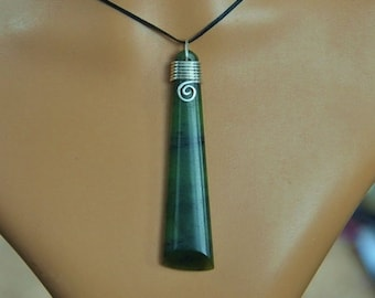 New Zealand Greenstone Toki pendant ~with sterling silver binding