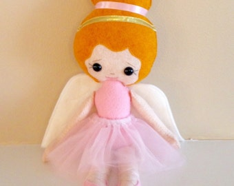 Catholic Saint Doll -Guardian Angel Ballerina in Pink - Wool blend felt