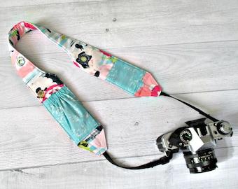 Pocket Camera Strap | Pink Floral Padded and Contoured Strap with Aqua Lens Pockets