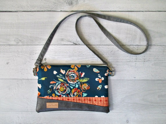 "Teal Floral Cross Body Bag. ""Juliet"" Clutch in Teal, Flowers and Peach. Clutch with Wrist Strap. Vegan Leather Purse. Teal Wristlet Bag."