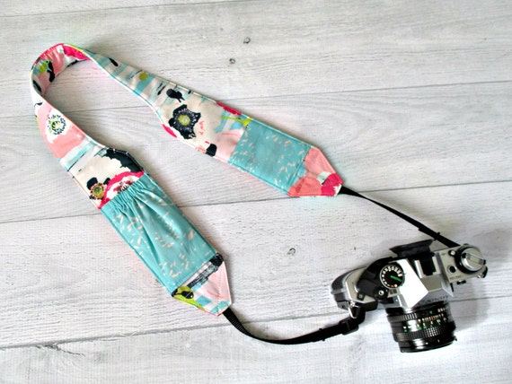 Pocket Camera Strap | Pink Floral Padded and Contoured Strap with Aqua Lens Pockets