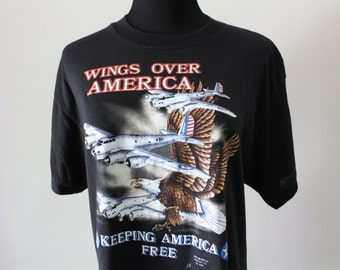 Vintage Wings Over America T-shirt size X-Large 1988