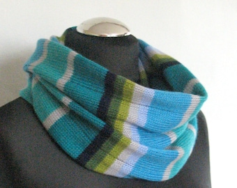 Blue Striped Infinity Scarf Cowl Wrap White Azure Green Moss