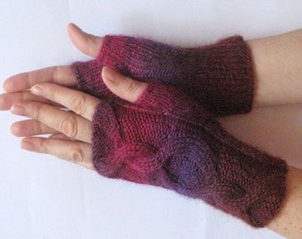Fingerless Gloves Pink Beet Purple Violet wrist warmers