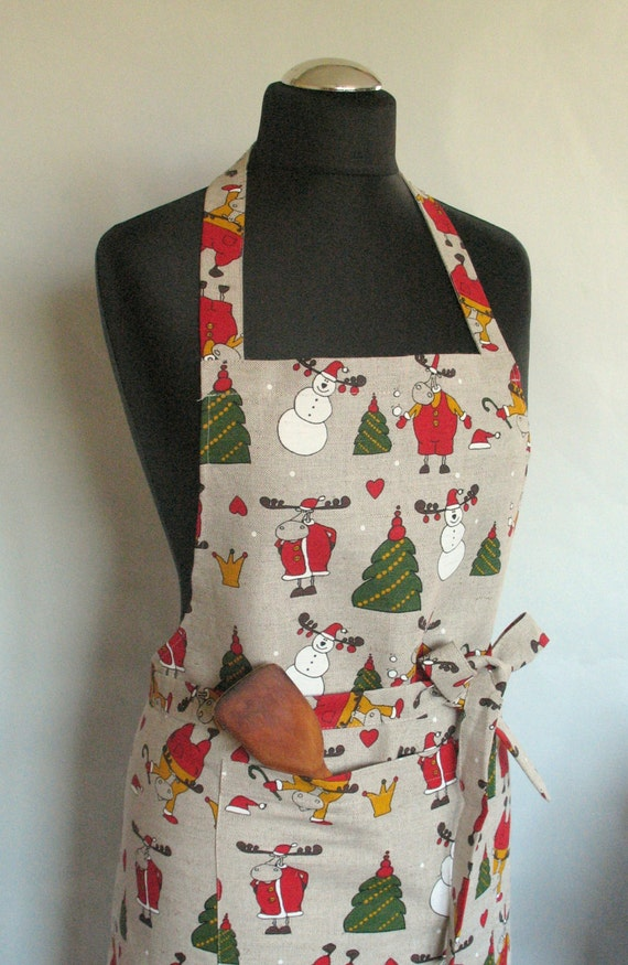 linen kitchen utility apron womens aprons for women christmas. Black Bedroom Furniture Sets. Home Design Ideas