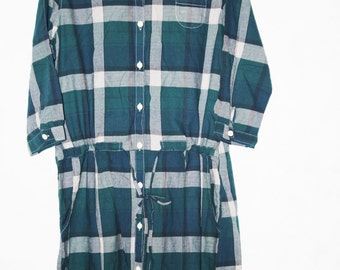Cotton single breasted plaid shirt dress