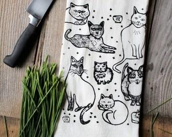 Flour Sack Tea Towel - Kitties  - Hand Printed Original illustration - pet, cat, humor, mothers day, women, men, animals, illustration