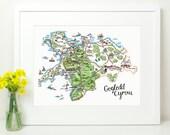 Gogledd Cymru North Wales Hand painted illustrated map. Y Gogledd. Gwynedd. Wales Welsh Cymru Welsh Language. Patriotic. Map of Wales. 16x12