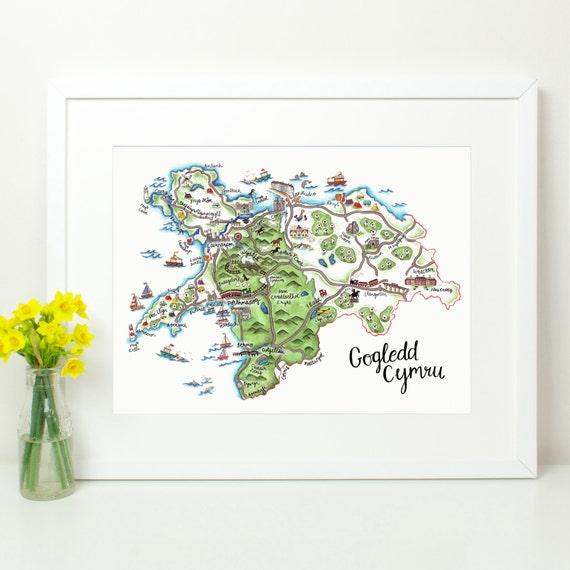 Gogledd Cymru North Wales Hand Painted Illustrated Map Y - Welsh language map