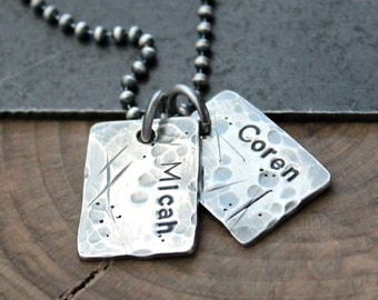 Personalized Men's Necklace, Men's Custom Jewelry, Hand Stamped Names, Fine Silver Tag, Raw Silver Dog Tag Necklace, Trashed Men's Necklace