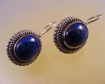 Lapis Lazuli Vintage Pierced Dangle Earrings in Sterling.....    Lot 4706