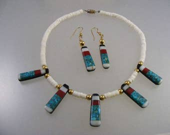 Vintage Southwest  Inlaid Bead Necklace and Matching Earrings..... Lot 4728