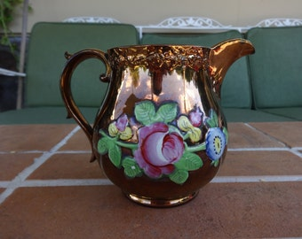 "antique copper lustre pitcher 5"" hand painted flowers staffordshire pottery vintage"