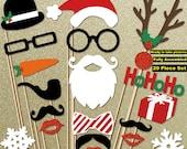 Holiday Decor - Christmas Decoration - Christmas Photo Props 20 Piece Set - Christmas Sign - Photo Booth Props