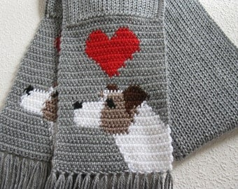 Jack Russell Terrier Scarf.  Grey knit and crochet scarf with Parsons Terriers. Knitted dog scarf