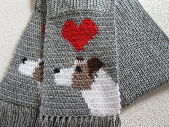 Jack Russell Terrier Scarf. Grey knit and crochet scarf with