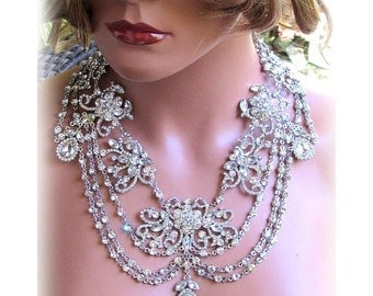 Wedding jewelry set, OOAK Bridal bib necklace and earrings, vintage inspired rhinestone bridal necklace statement, crystal jewelry set