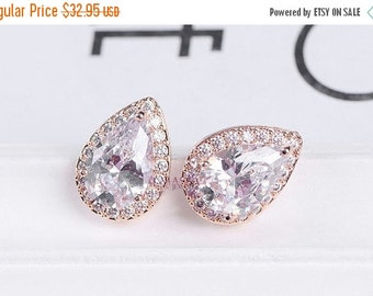 Bridesmaid earrings, Bridal earrings, Wedding earrings, Silver, Rose gold, gold plated Cubic zircon crystal earrings, stud teardrop earrings