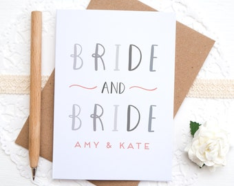 Bride and Bride card - Personalised Wedding card - Wedding congratulations - Mrs and Mrs