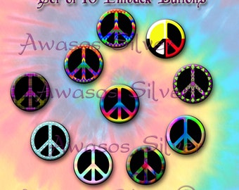 Peace sign pin back buttons. 1 inch buttons. Peace sign button set of 10