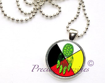 Turtle shell with feathers on Medicine Wheel pendant. Turtle pendant. Medicine Wheel pendant.