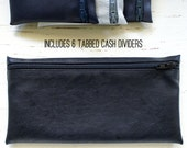 Men's cash envelope system budget wallet with 6 tabbed dividers | black fused leather
