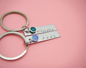 Birthstone Keychains for Couples, Personalized Keychain for couples for Girlfriend boyfriend, Couples Gift