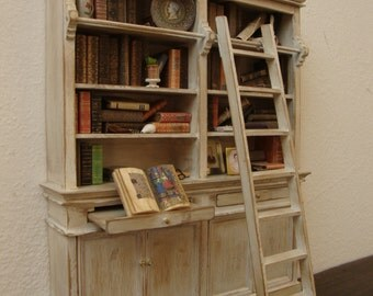 dollhouse miniature  library cabinet, with scale  in walnut wood decorated shabby chic, white