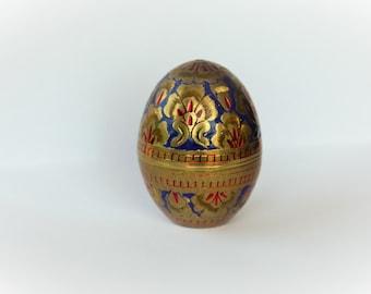 Ring Box Enamel on Brass Egg Ring presentation Jewelry box Vintage Cloisonne / faberge style blue velvet interior