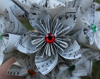 Origami Kusudama flowers - one dozen (12) flowers made from recycled sheet music