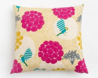 Pink Garden Pillow / Yellow Bird Pillow / Long Lumbar Pillow / Square Throw Pillow / Linen Pillow / Floral Motif / Colorful Modern Pillow