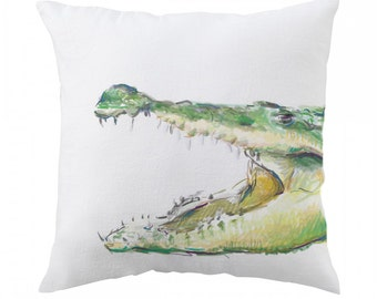 Crocodile Pillow - Alligator Pillow - 18x18 inch - Nursery Pillow Cover