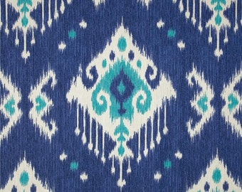 "Two 96"" x 50""  Custom Curtain Panels - Ikat  - Jade Ivory Blue"