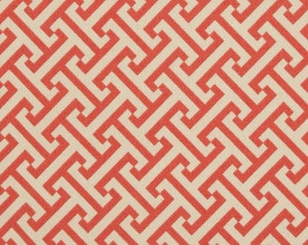 Two 20 x 20  Custom Designer Decorative Pillow Covers  - Indoor/Outdoor - Waverly Geometric - Coral