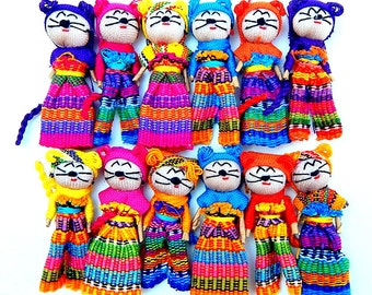 """12 Handmade 2"""" Worry Cats with Clothes  Best Quality made in Guatemala"""