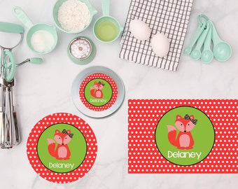 Fox Girls Plate/Bowl/Placemat . Personalized Plate . Personalized Placemat . Fox Plate . Fox Placemat . Woodland Plate . Woodland Party