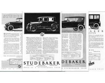 1920's Advertising Art, Studebaker, Series, Vintage Auto Ads, Petroliana, Automobilia, Instant Download Printable, Set of 4