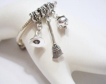 WITCH GEAR, Halloween Charms, Tibetan Silver, Kettle, Witch Hat, Broom, European Bracelet Dangle Charms or Pendants - 3 Piece Mix Set