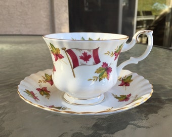 Royal Albert cup and saucer Canada From Sea to Sea with flag and maple leaves bone china England exc