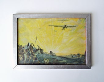 Very Odd Vintage Print of Native Americans Watching Covered Wagons, Cars, Airplanes, Dirigible