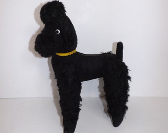 Vintage 1950s large black stuffed soft toy poodle dog retro collectable