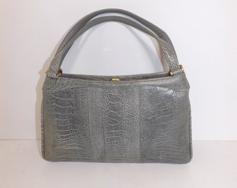 Vintage real ostrich leg skin leather grey grab handbag bag by Cape Cobra very rare