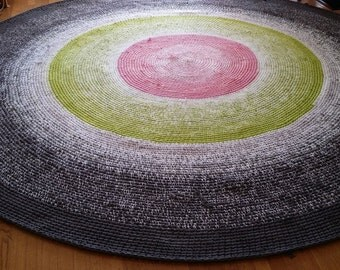 Tri-Color Fade Custom Rug, Crochet Rugs, Area Rugs, Large Round Rugs, Rugs, Crochet Rug, Custom Rugs, Nursery Rugs, Bedroom Rug,Studio Rugs