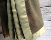 Crib Sized Organic Thermal Blanket with Satin Trim - Olive Green and Sage Green Binding