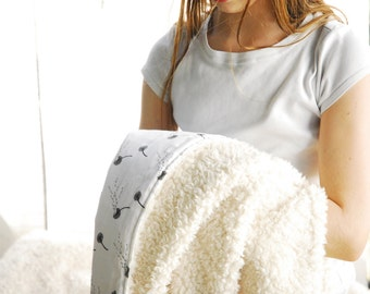 Faux Fur Blanket, Dandelion Wishes Organic Cotton, Plush Fur Blanket