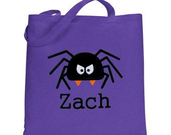 Halloween trick or treat Bags, personalized Halloween treat bags, spider treat tote bag
