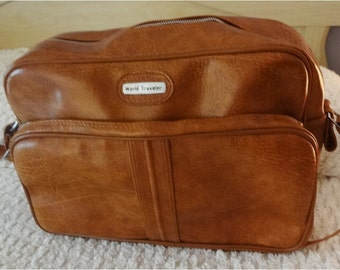 SALE ... Vintage Luggage Tote by World Traveler Rusty Brown